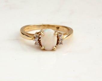 Estate 14k Solid Yellow Gold Diamond and Oval Cut Cabochon White Opal Ring, Size 7