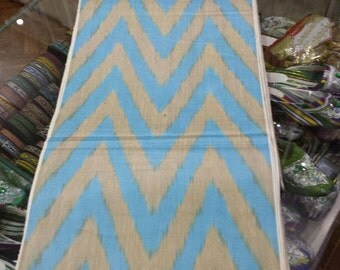 Uzbek traditional cotton woven chevron ikat fabric by meter. Tribal, ethnic, boho fabric
