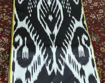 Uzbek traditional black cotton woven ikat fabric by meter. Tribal, ethnic, boho fabric