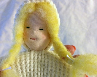 "Josephine - 6"" Tall Waldorf Pouch Doll Made with Natural and Organic Materials"
