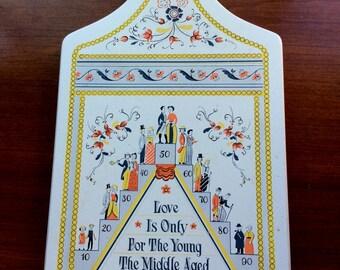 Vintage Berggren Bread Board - Housewarming - Wedding - Love Is - Swedish - Kitchen