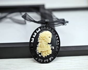 Gothic Cameo Necklace, Black Cameo Necklace, Black Necklace, Gothic Necklace, Cameo Jewelry, Gothic Jewelry, Lolita, Skeleton, Forever Love