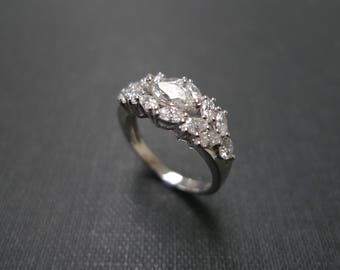 Marquise Diamond Ring / Engagement Ring / Marquise Ring / Marquise Band / Diamond Band / 0.30ct Marquise Diamond Engagement Ring White Gold