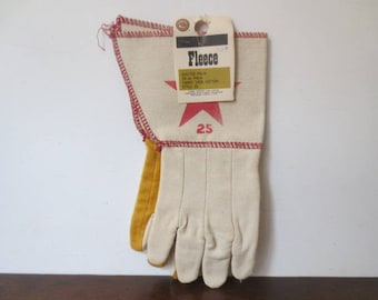 Vintage '50s/'60s Deadstock Indianapolis Glove Co. Cotton Gauntlet Workwear Gloves w/ Red Star, NOS!!!