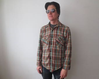Vintage '60s Frostproof Sanforized 100% Cotton Brown & Teal Plaid Flannel Shirt, Men's Medium