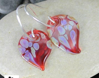 Red Butterfly Wing Earrings - Lampwork Glass Dangles - Sterling Silver