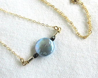 One of a Kind Necklace, Layering Necklace with Blue Coin Pearl, Gift idea, Bridal Gift, Wedding, Bridesmaid Gift, Delicate Jewelry