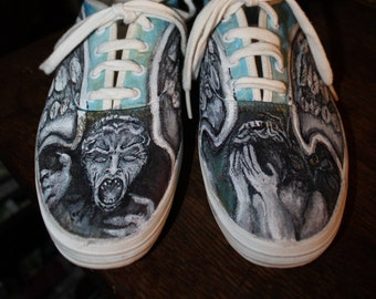 Custom Painted Doctor Who shoes Don't Blink  Order Any Size or Type of shoe sneaker ladies mens Just 3 days to paint for you