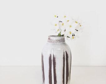 Ceramic vase home docor gift Handmade ceramic bud vase in white carved glaze