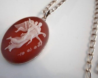 Sterling Silver Cameo Cupid & Aphrodite Pendant. Carved Sardonyx Shell. Oval Link Belcher Chain. Vintage Italian Large Oval Cameo Necklace