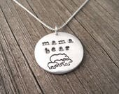 Reserved for V, Mama Bear and Three Cubs Necklace, Mother Bear, Three Children, Fine Silver, Sterling Silver Chain, Ready To Ship