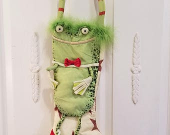 vintage designer Christmas stocking like Horchow Anthropologie From fur WOW! Custom Grinch
