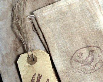 Antiqued Tags, Cloth Bags and Sandwich Bags - Stamped * Birds * Rustic * Primitive