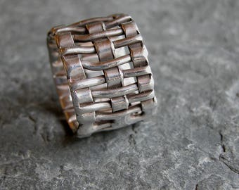 Gift For Him, Men's Jewelry Gift, Men's Silver Ring, Unique Men's Wide Silver Ring, Handmade Criss Cross Silver Ring, Wide Silver Band