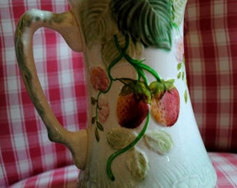 French MAJOLICA Water JUG Choisy le Roi with STRAWBERRIES