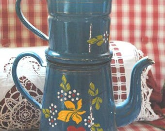 Antique enamelware French Coffee pot Blue hand painted cherries