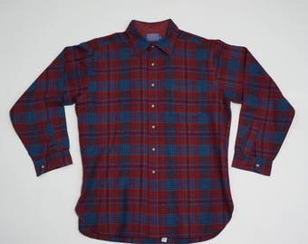 Vintage Pendleton Plaid Wool Fireside Shirt - XL Long
