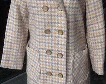 Vintage Women's Long Peacoat Light Weight Yellow and Gray Plaid Size Medium Super Cute