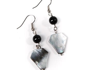 Gray Coffin Mother of Pearl Black Beaded Earrings