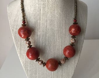 Vintage Carnelian,Shell and Brass Bead Necklace