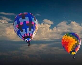 Hot Air Balloons against a Cloudy Sky at the Battle Creek Michigan Balloon Festival No.7031 A Fine Art Aviation Photograph