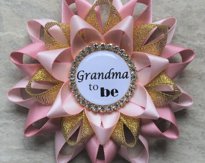 Pink and Gold Baby Shower Decorations, New Grandma Gift, Grandma to Be Pin, Mommy to Be Corsage, Baby Girl Shower, Pale Pink, Quartz, Gold