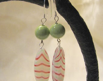 red, white, and green summer dangle earrings