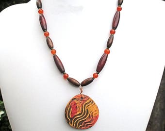Colorful Statement Necklace Handmade Porcelain Pendant Jade Gemstone Wood Glass Toggle Clasp Orange Brown 18in / Matching Earrings Available