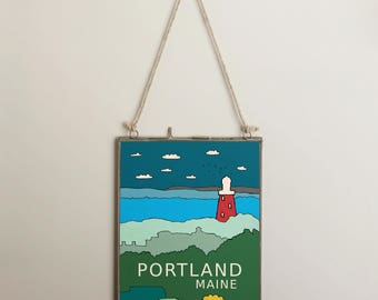 Portland Maine // Modern Nursery, Travel Theme, City Skyline, Typography Poster, Northeast USA, Hometown Love, Oh the Places You'll Go