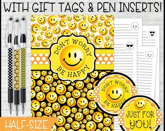 Don't Worry BE HAPPY Journal & Notebook Gift Set, Emoji, Smiley Face, Journal Pages, Gift Tags, Pen Inserts - Printable Instant Download