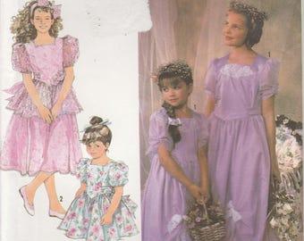 Flower Girl Dress Pattern Girls Size 2 - 3 - 4 - 5 - 6 - 6x Uncut Simplicity 7082