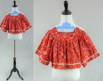 70s Bandana Print Top - Red White Black - Ric Rac Trim - Junior Girls Crop Top - Sears JR Bazaar - S