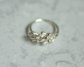 Silver lavender ring, lavender ring, flower ring, organic ring, floral jewellery