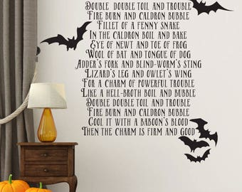 Double Double Toil and Trouble Halloween Wall Decal - The 3 Witches Chant from MacBeth - Halloween Wall Decal - with bats - WB-911