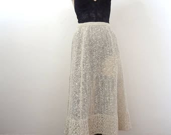1970s Irish Linen Knit Skirt - vintage a-line by Pallas size M