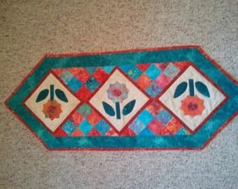 Batik Quilted Table Runner