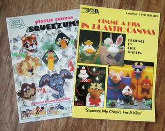 SQUEEZUMS Plastic Canvas PATTERN BOOKS Choice or Both -  Gimme Kiss And Squeezums American School of Needlework 3048 & Leisure Arts 1112