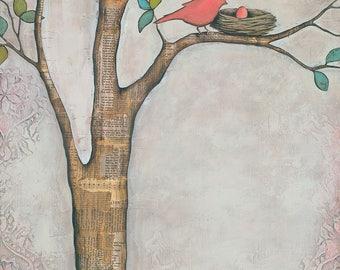 NURSERY ART, Tree Mixed Media, titled Set Apart, Custom Nursery Art, Mother Bird and Egg Art, Mother Bird Art, Baby Bird Art, Nursery Art