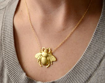 Bee Necklace, Gold Bumblebee Charm Necklace