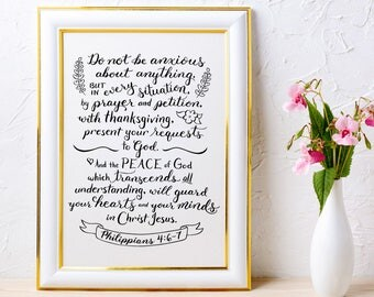 Christian Wall Art ~ Prayer and Petition ~ Philippians 4:6-7 ~ Hand-Lettered Design