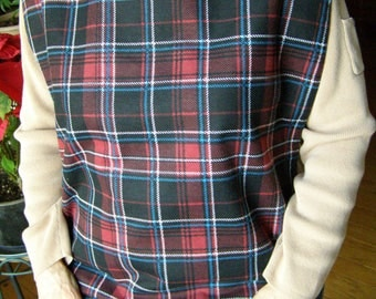 Adult Flannel Shirt Protector Bib Black/Burgundy Plaid special needs apron reversible