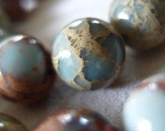 """16"""" strand 12mm Aqua Terra Jasper Round Beads, 34 beads"""