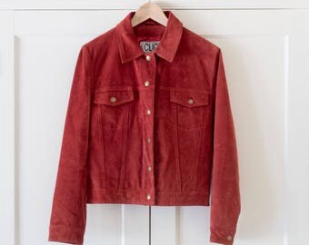 Vintage 1990's Brick Red Suede Leather Boxy Jacket / Minimalist Style / Retro / 80's / Women's / Size M
