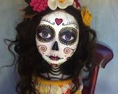 OOAK Handmade Art Doll. Day of the Dead,