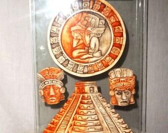 CHICHEN ITZA Ceramic Volcanic Figurines 3 D Between Glass Standing Plaque
