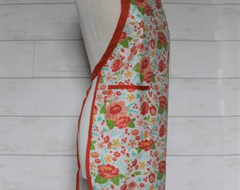 Waterproof Womens Apron Heavy Duty Apron in White with Orange Flowers