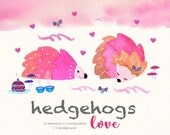 Cute Valentines Day Clipart/ Love Clipart/ Hedgehog Valentines/ Couples Hedgehogs/ Cute Hedgehogs/ Wedding Clipart/ Pink Hedgehog