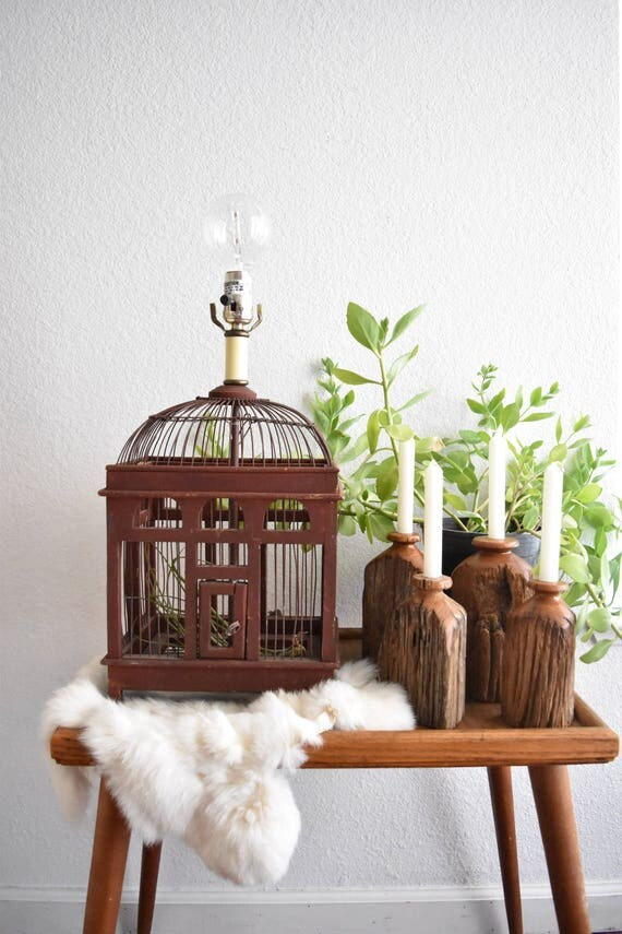 wood birdcage accent table lamp / birdhouse