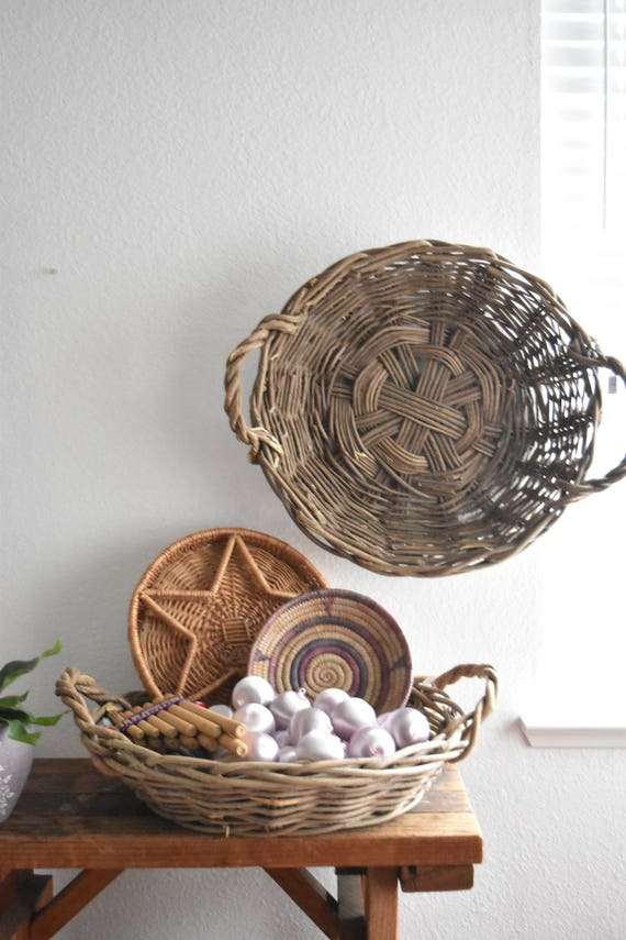 extra large woven wicker wall hanging basket with handles / planter / farmhouse storage