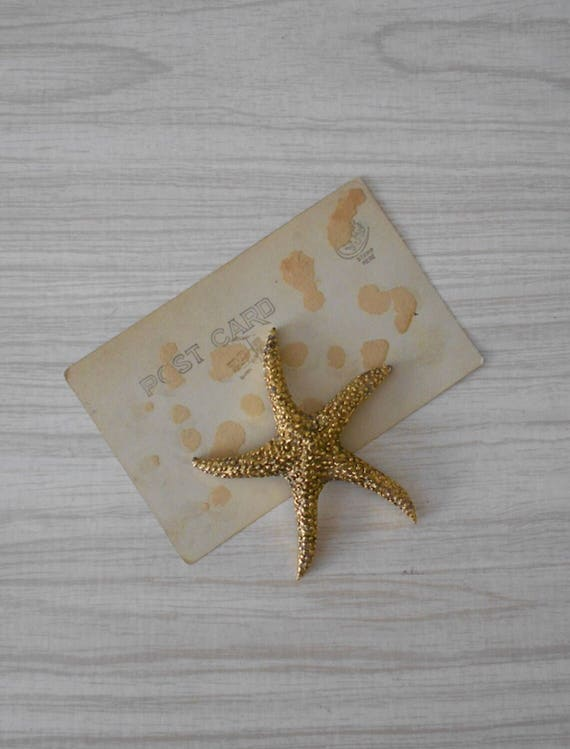 vintage solid brass starfish figurine / paperweight